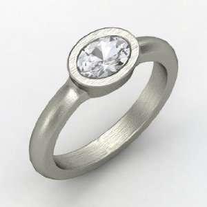 Byzantium Ring, Oval White Sapphire 14K White Gold Ring Jewelry