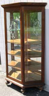 Oak Slant Sided China Cabinet with Leaded Glass Door |