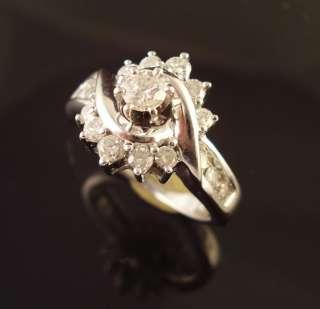 14k WHITE GOLD DIAMOND ENGAGEMENT RING .75 CT