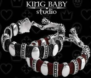 King Baby STINGRAY Red Black Silver 925 BRACELET