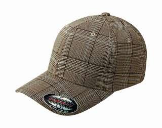 6196 Flexfit Glen Check Plaid Fitted Baseball Blank Plain Hat Ball Cap