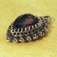 VICTORIAN SILVER CHARLES HORNER AMETHYST FACETED GLASS HEART CHARM