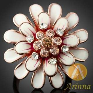 flower Cocktail Fashion Ring rose gold GP Swarovski Crystal