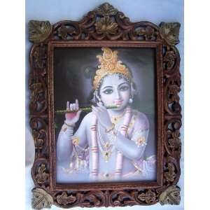 Child Lord Krishna Playing with flute poster painting in Wood Crafts