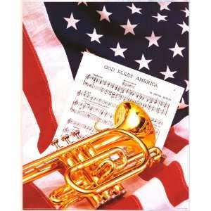God Bless America Flag Sheet Music   Photography Poster