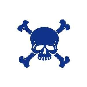 Skull and Crossbones BLUE vinyl window decal sticker
