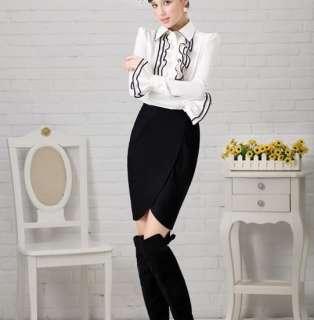 White Designer Vintage Lady Ruffle Collar Sleeve Shirt/top
