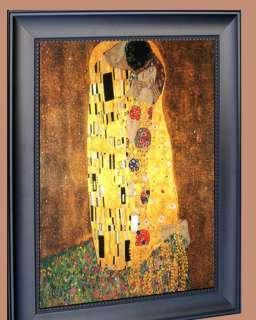 GUSTAV KLIMT THE KISS FRAMED CANVAS ART GICLEE 20X16
