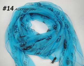 NEWEST 2011 Star Fashion Women Long Stole Silk Shawl SKULL Print SCARF