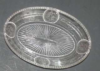 EAPG Cupid Venus Oval Flint Glass Dish Richards Hartley