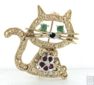 HEAVY 14K GOLD ADORABLE .43CTW VS DIAMOND/EMERALD/RUBY/ONYX KITTY CAT
