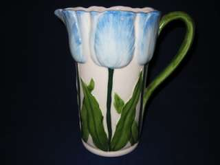 Henriksen Imports Hand Painted Blue Tulips Pitcher WOW