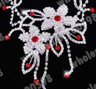 2sets Flower Rhinestone Crystal Choker Necklace Earring
