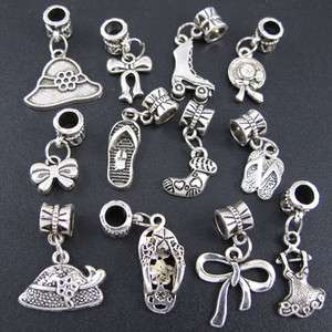 Mix 100x Tibetan Silver Dresses and Shoes Dangle Beads Fit Charm