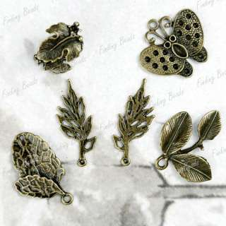 vintage Antique bronze Brass Mix flower animal Pendants charms