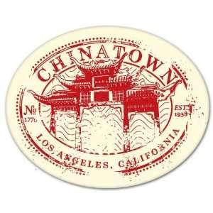 Los Angeles Chinatown Travel Stamp bumper sticker 5 x 4