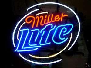 MILLER LITE BEER BAR NEON LIGHT SIGN 16 x 16 me096