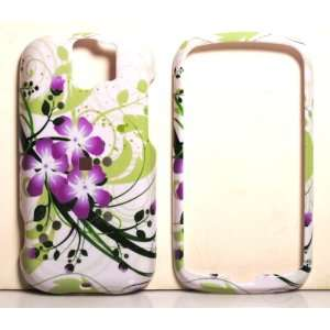 White with Green Leaf and Purple Orchid HTC MyTouch Slide Snap on Cell