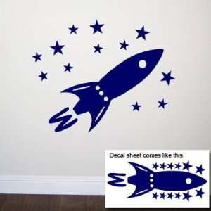 ROCKET SHIP Wall Room Decal Sticker Boy Stars Space  Color Navy Blue