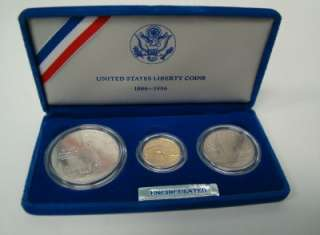 1986 LIBERTY PROOF SET 3 COINS ~GOLD $5 DOLLAR, SILVER 1 DOLLAR, HALF
