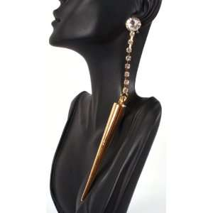 Gold Spike Drop Earrings with Big Stud Poparazzi Basketball Mob Wives