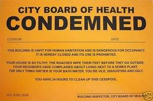 Humiliating Prank Sign   BOARD OF HEALTH   CONDEMNED