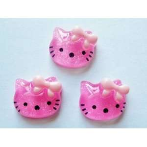 5pc Hot Pink Glitter Kitty Cat Flat back Resin Appliques