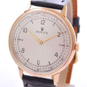 ROLEX 18K SOLID ROSE GOLD MANUAL WIND BIG SIZE VINTAGE DRESS MENS