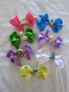 Bows Art Ceramic School Days & Birthday Charms Hair Bows   3in x 1.5in