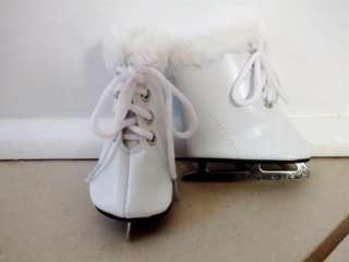 Fits American Girl/ 18 Dolls  WHITE ICE SKATES w/FUR TRIM   Doll