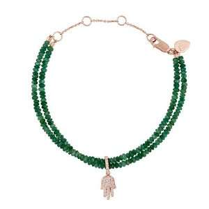 Meira T Solid 14K Rose Gold Diamond Hamsa Double Strand Emerald Beads
