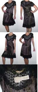 584 Max Azria bcbg RUNWAY Brown Black Lace Dress XS