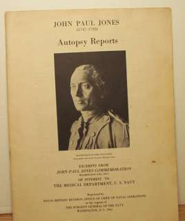 John Paul Jones Autopsy Reports Illus 1965