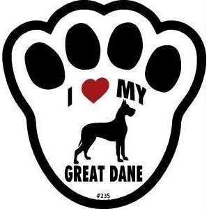 I Love My Great Dane Dog Pawprint Window Decal Pet