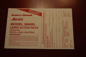 Marlin Model 39AWL Owners Manual Original!