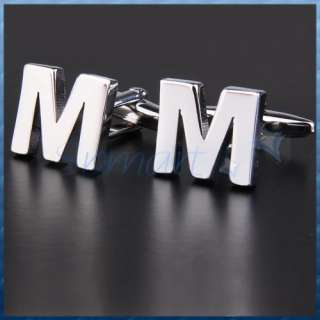 Silver Design Personal Initial Letter M Cuff Links Set
