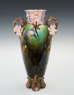 Continental Majolica Vase 17.5 High Double Handles Flower Design