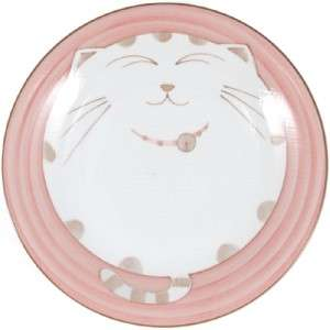 2x Japanese Kids Porcelain Dish Plate Pink Cat HY277/P
