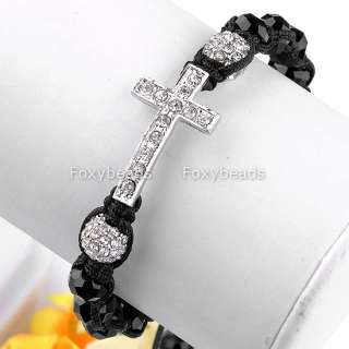 Clear Disco Ball Crystal Cross Pave Faceted Black Glass Beads Macrame