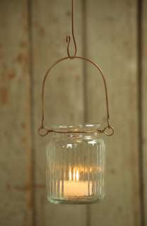 Rustic Chic Glass & Wire Jelly Jar Hurricane Hanging Lantern Candle