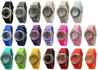 NEW Wholesale Lot 10 Geneva Silicone Rubber Jelly Designer Watches