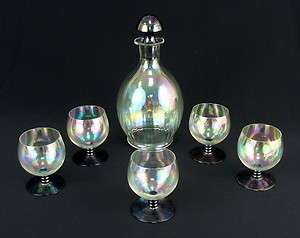 BOHEMIAN LOETZ IRIDESCENT GLASS LIQUOR DECANTER BOTTLE STOPPER GLASSES