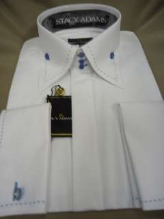 Mens Stacy Adams High Collar Dress Shirt White w/Blue