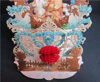 VICTORIAN Die Cut 3D Pop Up CHRISTMAS CARD Scrap Dresden Antique