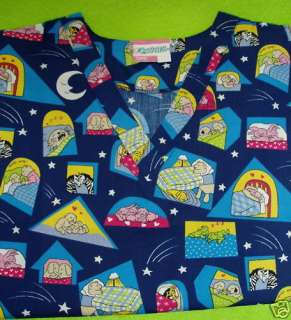 NURSE PEDS VET UNIFORM SCRUB TOP BEDTIME ANIMALS L LG NEW