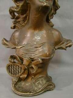 Spelter ART NOUVEAU Figural LADY BUST Old Victorian Statue LETE