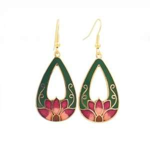 Chinese Cloisonne Gold plated Enamel Lotus Earrings Green Jewelry