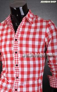 3mu Mens New Designer Plaids Checks Slim Dress Shirts Tops Casual S M