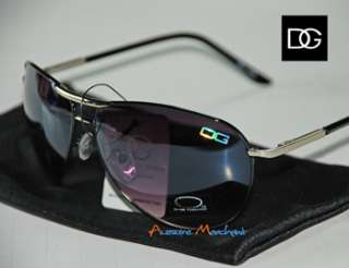DG AVIATOR BLACK SILVER RETRO MEN WOMEN SUNGLASSES 9515
