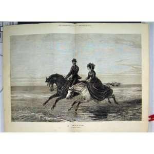 1873 Woman Man Galloping Horses Romance Antique Art